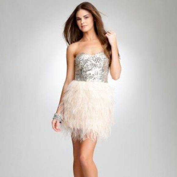 bebe Dresses & Skirts - Bebe Isis Sequin Feather Dress